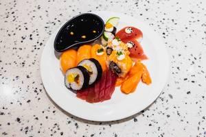 Flat lay of various Japanese dish