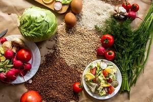 Flat lay view of vegan food background (Flip 2019)