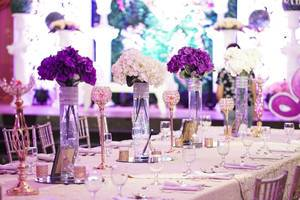 Floral decorations at the center table