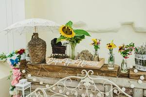 Floral Wedding Decoration On A Wooden Platform (Flip 2019)