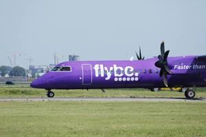 Flybe Flugzeug close-up view auf dem Flughafen in Amsterdam