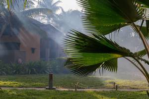 Fog machine used for mosquito protection & insect control at Constance Ephelia Resort at Mahé, Seychelles