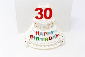 Foldable Happy Birthday card for a thirtieth birthday shows a cake