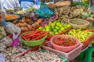 Food market with local vegetables in Saigon, Vietnam