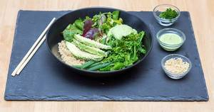 Food Photo of Vegan Green Bowl with Broccoli, Salad, Avocado and Sesame with Avocado Coriander Dressing