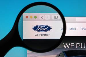 Ford logo under magnifying glass