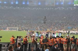 Fotografen fotografieren die feiernde deutsche Nationalmannschaft - Fußball-WM 2014, Brasilien