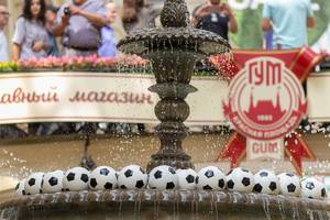Fountain with soccer balls at GUM mall in Moscow