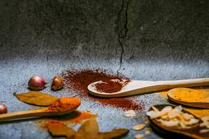 Four wooden spoons with various spices (Flip 2019)