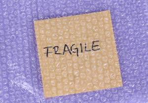 Fragile label under bubble wrap