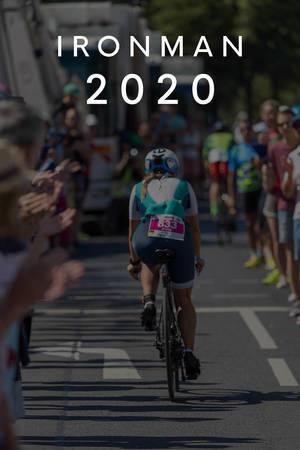 """Frau beim 180km Radrennen während des sportlichen Triathlons, unter dem Bildtitel """"Ironman 2020"""""""