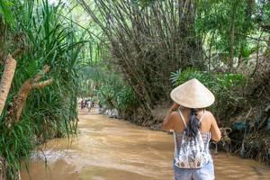 Frau geht durch den grün bewachsenen Fluss des Fairy Streams in Mui Ne, Vietnam