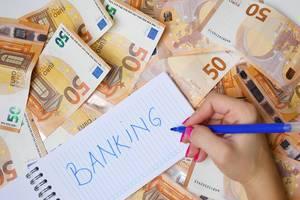 """Frau schreiben """"Banking / Bankgeschäfte"""" auf einen Zettel zwischen 50-Euro-Geldscheinen"""