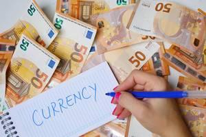 """Frau schreiben """"currency / Währung"""" auf einen Zettel zwischen 50-Euro-Geldscheinen"""