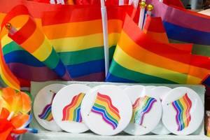 Free Hugs Flaggen und Broschen in Regenbogenfarben