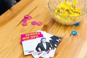 Freie Demokraten (FDP) - Kurzwahlprogramm-Broschüren, Jetons und Bonbons
