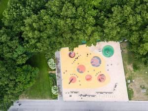 Freiwasserspiele in der Nähe des Ludwig Museums aus der Vogelperspektive