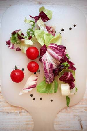 Fresh and tasty vegetables for salad