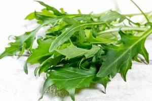 Fresh arugula leaves on white wooden background