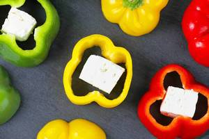 Fresh bell pepper and cheese, slices