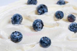 Fresh blueberries on white sweet cream