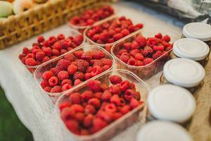 Fresh Boxes Of Rasberries On Martketplace