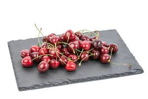 Fresh Cherries on the Stone Tray