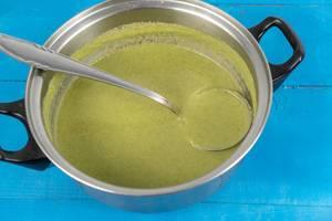 Fresh Green Broccoli soup in the pot (Flip 2020)