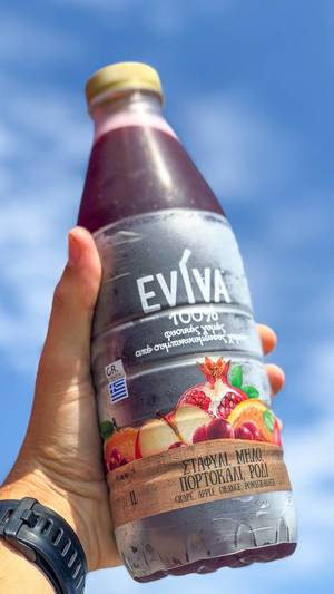Fresh juice in a bottle by Eviva