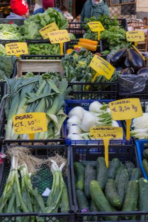 Fresh leek, fennel, spring onion and cucumbers on the market in Rome
