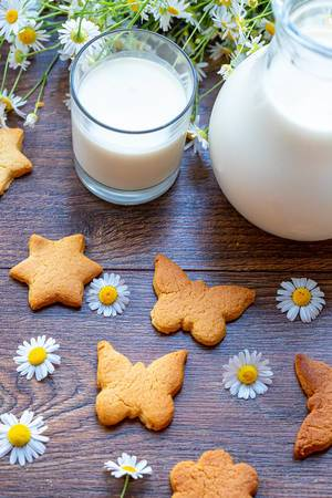 Fresh milk, homemade cookies and daisies on wooden background