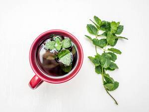 Fresh mint tea on white background  Flip 2019