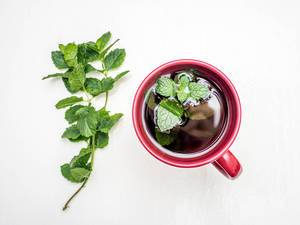 Fresh mint tea on white background
