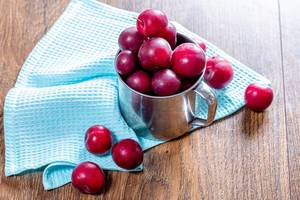 Fresh plums in an iron mug on the wooden background with a blue kitchen towel (Flip 2019)