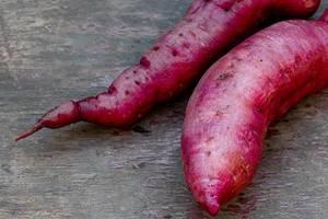 Fresh purple yams root. Healthy food concept