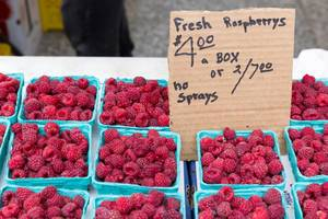 Fresh raspberry at City Market in Chicago