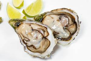 Fresh raw oyster with lime slices on white background (Flip 2019)