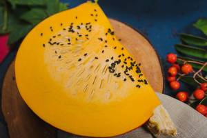 Fresh Ripe Pumpkin With Black Seeds On The Top (Flip 2019)