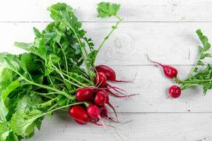 Fresh ripe radish on white wooden background