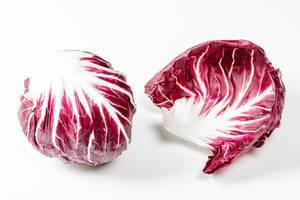 Fresh salad chicory Radicchio on white background (Flip 2019)
