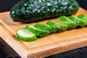 Fresh sliced wet cucumber