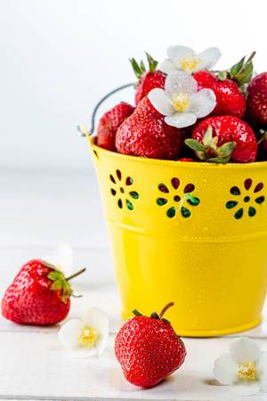 Fresh strawberries with white flowers in a yellow bucket on a wooden table