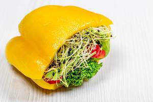 Fresh vegetable sandwich with bell pepper and micro greenery