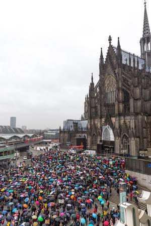Fridays For Future Umweltdemonstration vor dem Kölner Dom