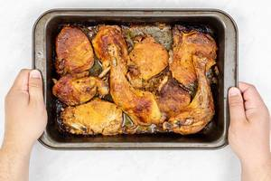 Fried Chicken and Pork Meat in the baking tray