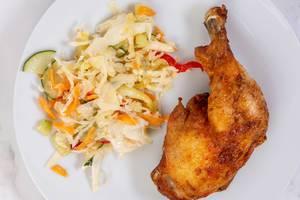 Fried Chicken Drumstick with vegetables vitamin salad