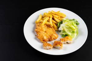 Fried Chicken Meat and French Fries with Lettuce