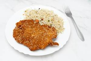 Fried Chicken meat with cooked Rice served on the plate (Flip 2019)
