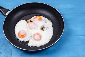 Fried Eggs in the black frying pan above wooden table (Flip 2020)