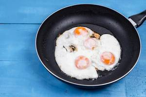 Fried Eggs in the black frying pan above wooden table